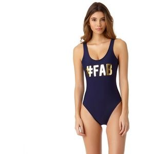 Other - #FAB Navy Gold One Piece Swimsuit Large 11-13 NEW